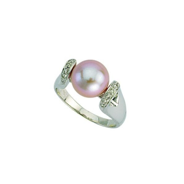 Bague or, perle et diamants