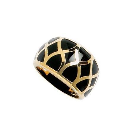 Bague plaqué or avec motifs cloisonnés en résine noir