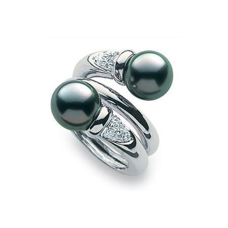 Bague perles diamants