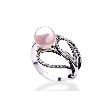 Bague or perles et diamants