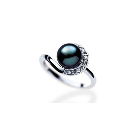 Bague or, perle de Tahiti et diamants