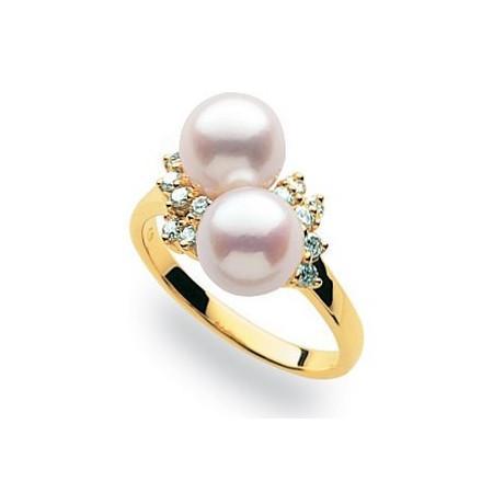Bague or, perles et diamants