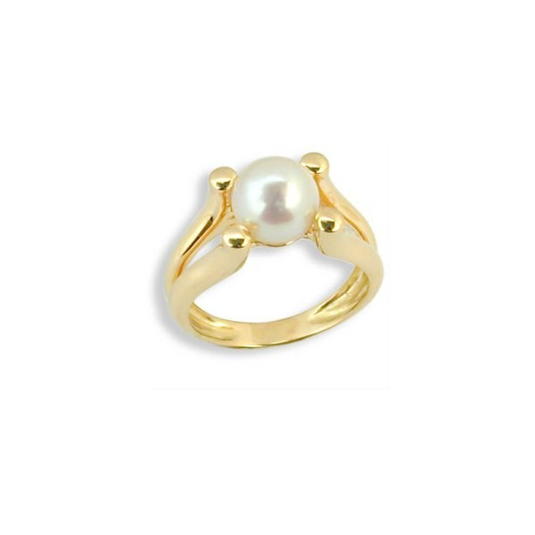 Bague or solitaire perle Akoya