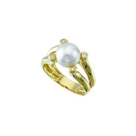 Bague or perle Akoya et diamants
