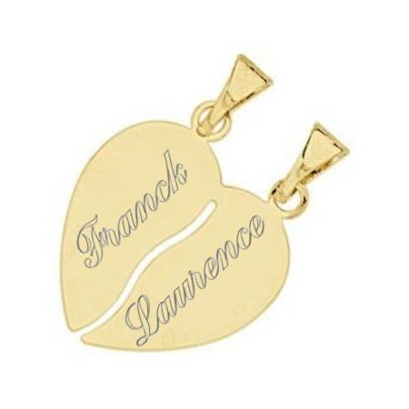 Pendentif coeur à partager plaqué or avec gravure.