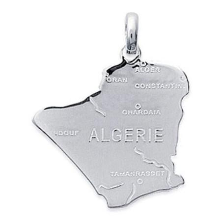 Pendentif en argent carte de l'Algérie