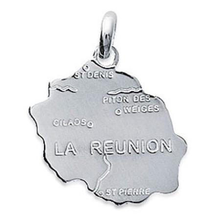 Pendentif en argent carte de la Réunion