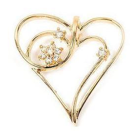 Pendentif coeur plaqué or et oxydes de zirconium.