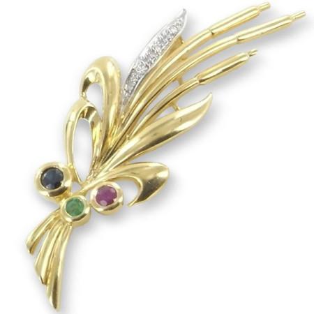 broche roseaux en or