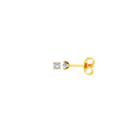 Clous d'oreilles or jaune et diamants