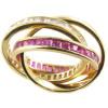 Bague 3 anneaux plaqué or et oxyde de zirconium.