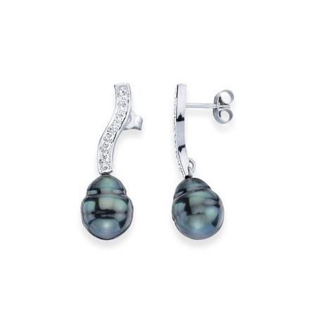 Boucles d'oreilles or, diamants et perles
