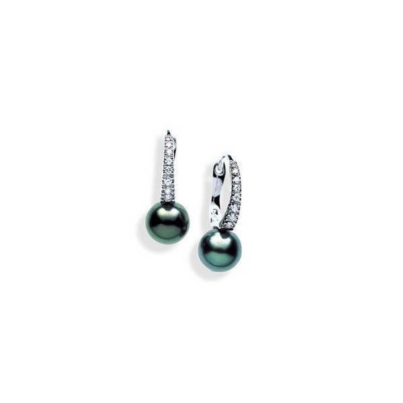 Boucles or avec diamants et perles