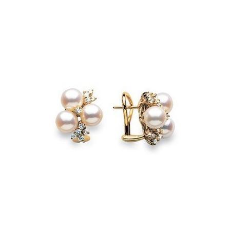 Boucles d'oreilles or, perles japon et diamants