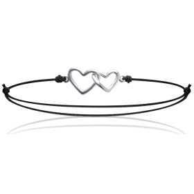 Bracelet argent duo de coeurs entrelacés