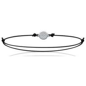 Bracelet argent médaillon rond perlé de 6 mm