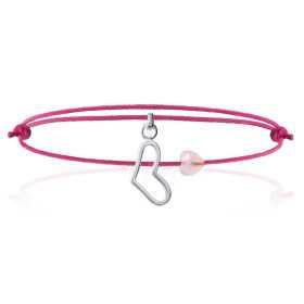 Bracelet argent breloque coeur et coeur en quartz rose