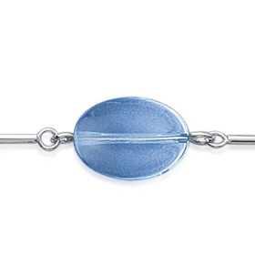 Collier argent avec verre façon murano bleu