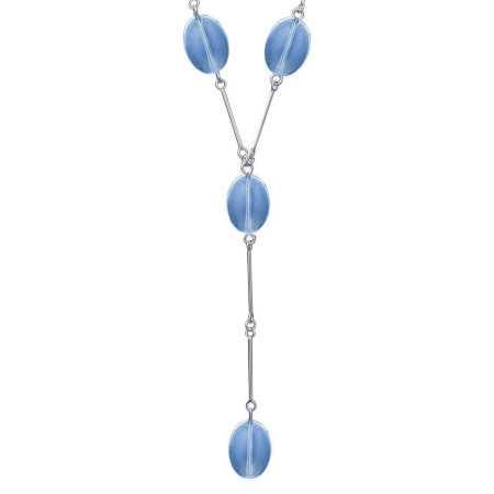 Collier argent avec verre façon murano bleu -1