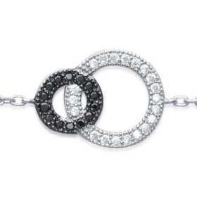 Bracelet argent motif éclipse, zirconias blanc de 10 mm