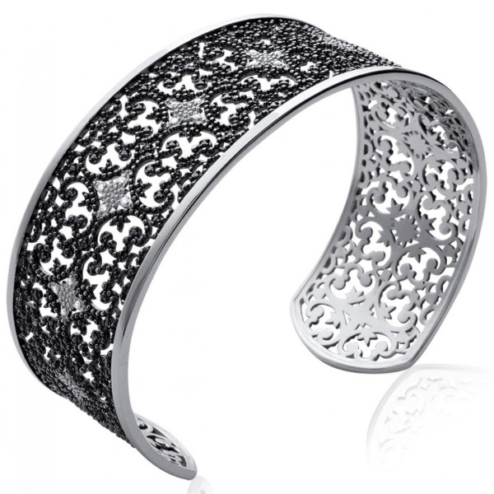 Bracelet jonc argent motifs baroques