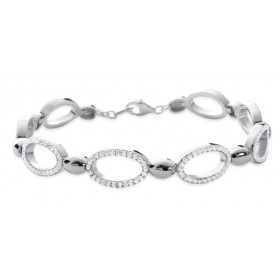 Bracelet argent maille pavés d'oxydes de zirconium blanc