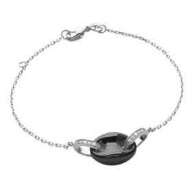 Bracelet argent grain de café en céramique noir de 15 mm