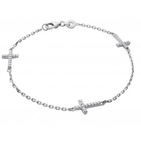 Bracelet argent croix pavées d'oxydes de zirconium blanc