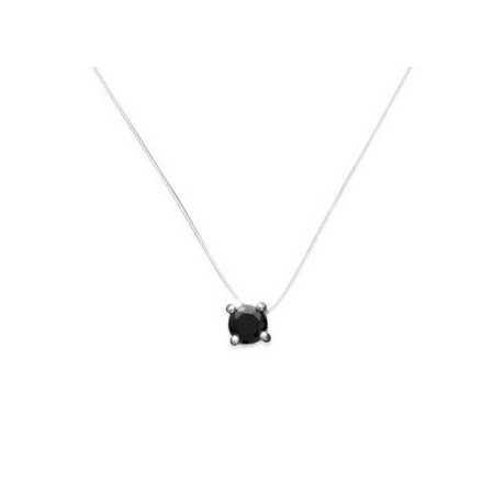 Collier argent pendentif solitaire oxyde de zirconium noir de 4 mm