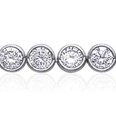 Bracelet argent rivière d'oxydes de zirconium blanc taille rond sertis clos de 5 mm