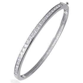 Bracelet jonc argent demis tour d'oxydes de zirconium