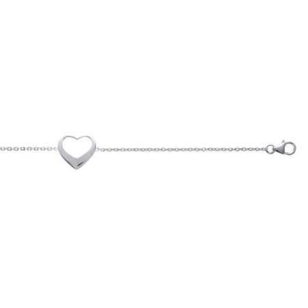 Bracelet argent coeur ajouré de 15 mm