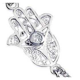 Parure de main en argent avec main de fatma filigranée