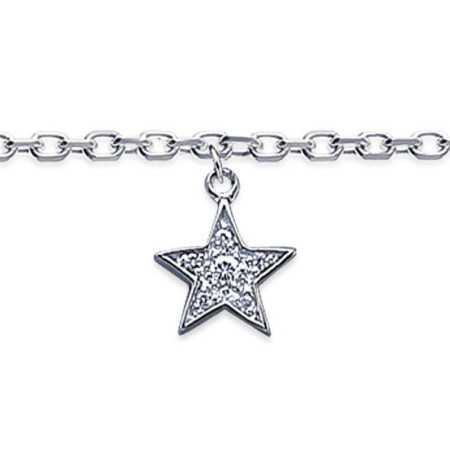 Chaîne de cheville en argent avec breloque étoile