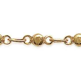 Chaîne de cheville plaqué or avec motifs boules sur anneaux
