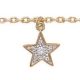 Chaîne de cheville plaqué or avec breloque étoile pavée