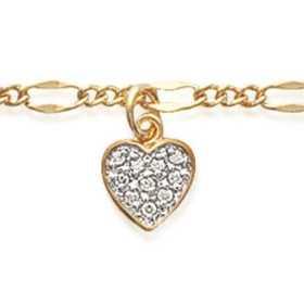 Chaîne de cheville plaqué or avec breloque coeur