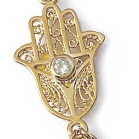 Parrure de main plaqué or avec main de fatma