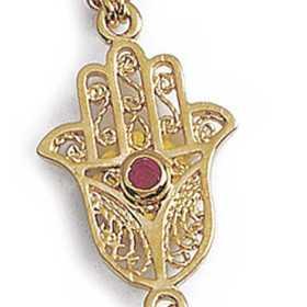 Parrure de main plaqué or avec main de fatma filigranée