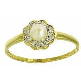 Bague aurélie en or avec perle de culture