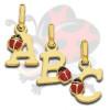 Pendentif initiale en or avec coccinelle pour enfant ou bébé