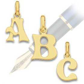 Pendentif initiale en or lettre fantaisie