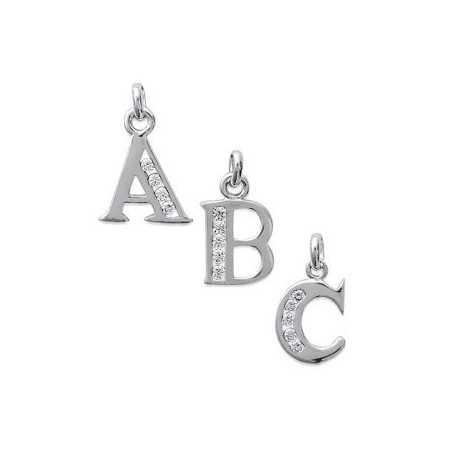 Pendentif lettre en argent et oxydes de zirconium