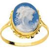 Bague torsade or avec camée porcelaine bleue