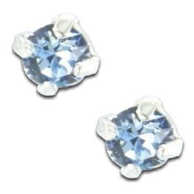 Clous d'oreilles en argent et cristal bleu taille ronde