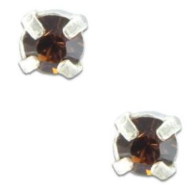 Clous d'oreilles en argent et cristal marron taille ronde