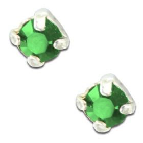 Clous d'oreilles en argent et cristal vert taille ronde
