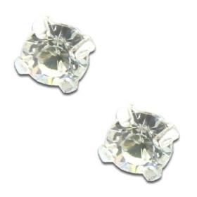 Clous d'oreilles en argent et cristal blanc rond