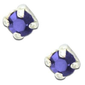 Clous d'oreilles en argent et cristal bleu rond