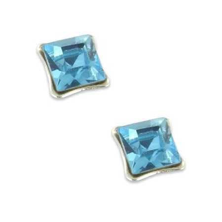 Clous d'oreilles en argent et cristal carré bleu ciel